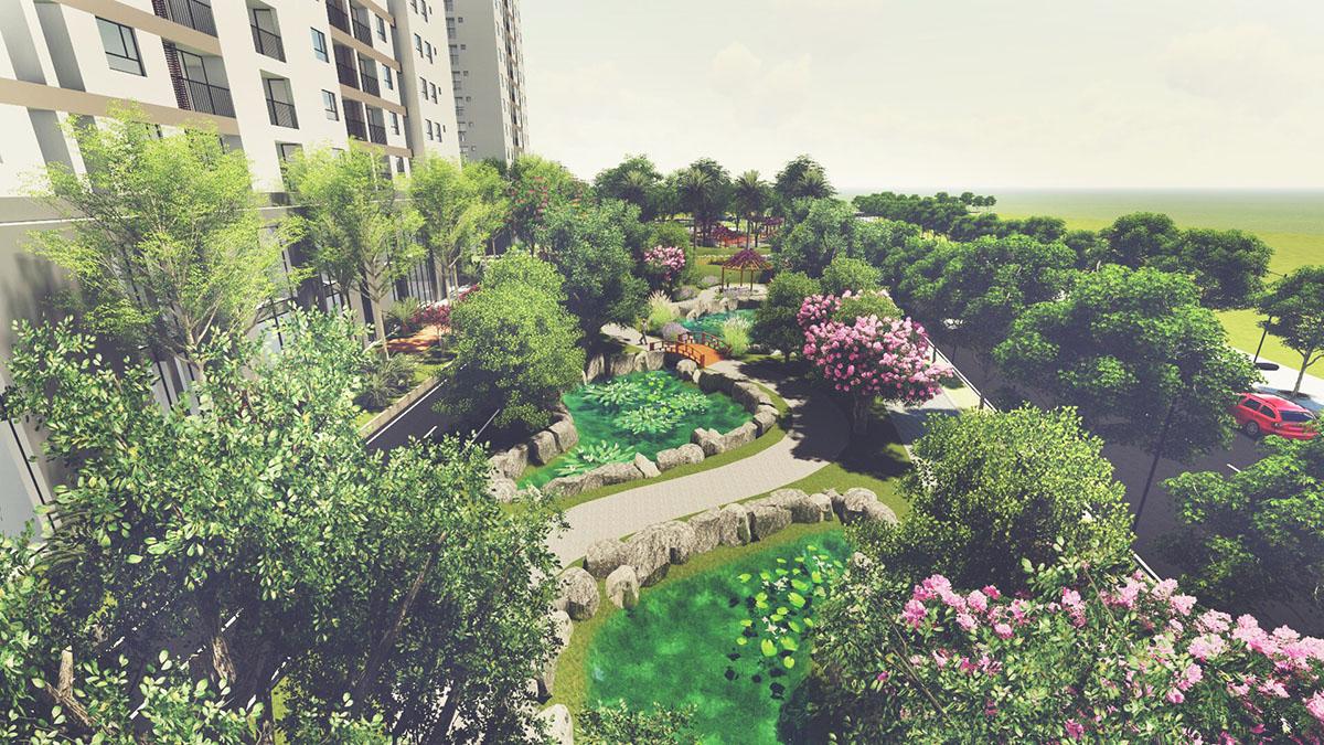 không gian xanh từ dự án Tara Residence tức Song Ngọc