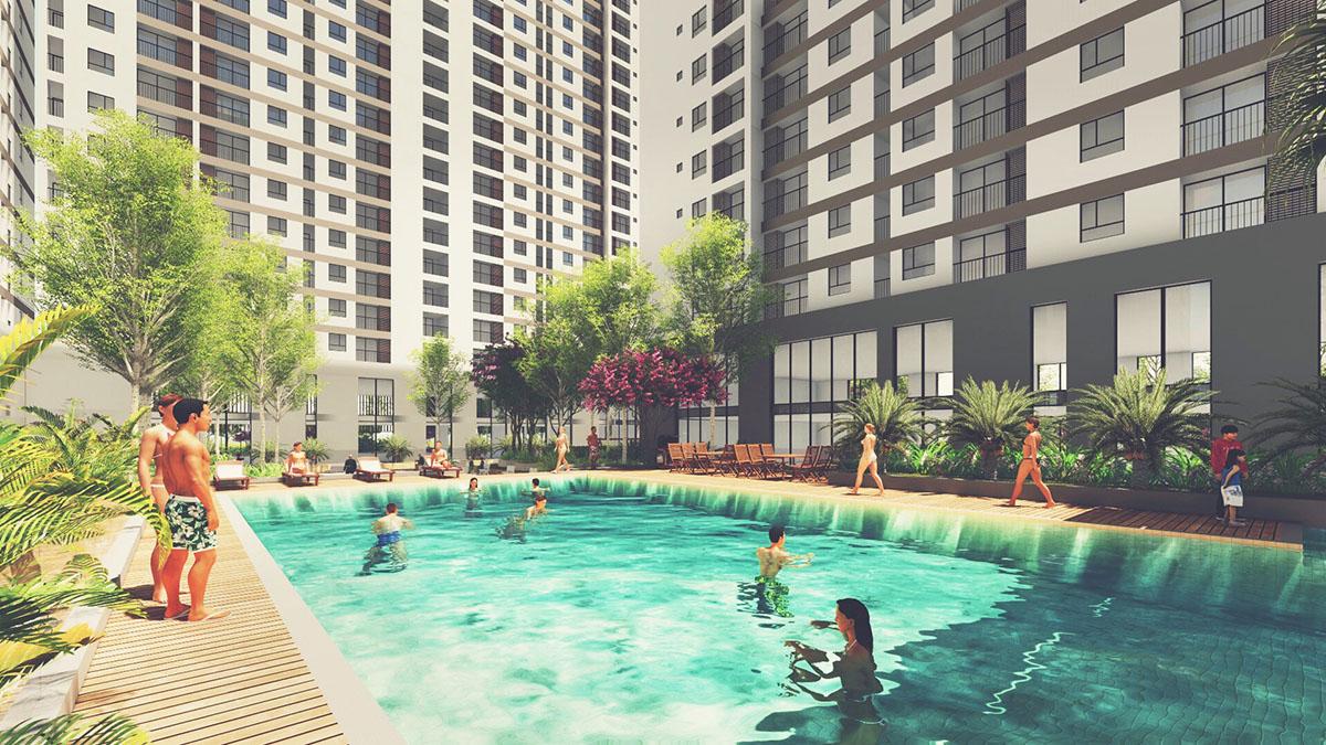Hồ bơi tại dự án căn hộ Tara Residence, CDT Song Ngọc