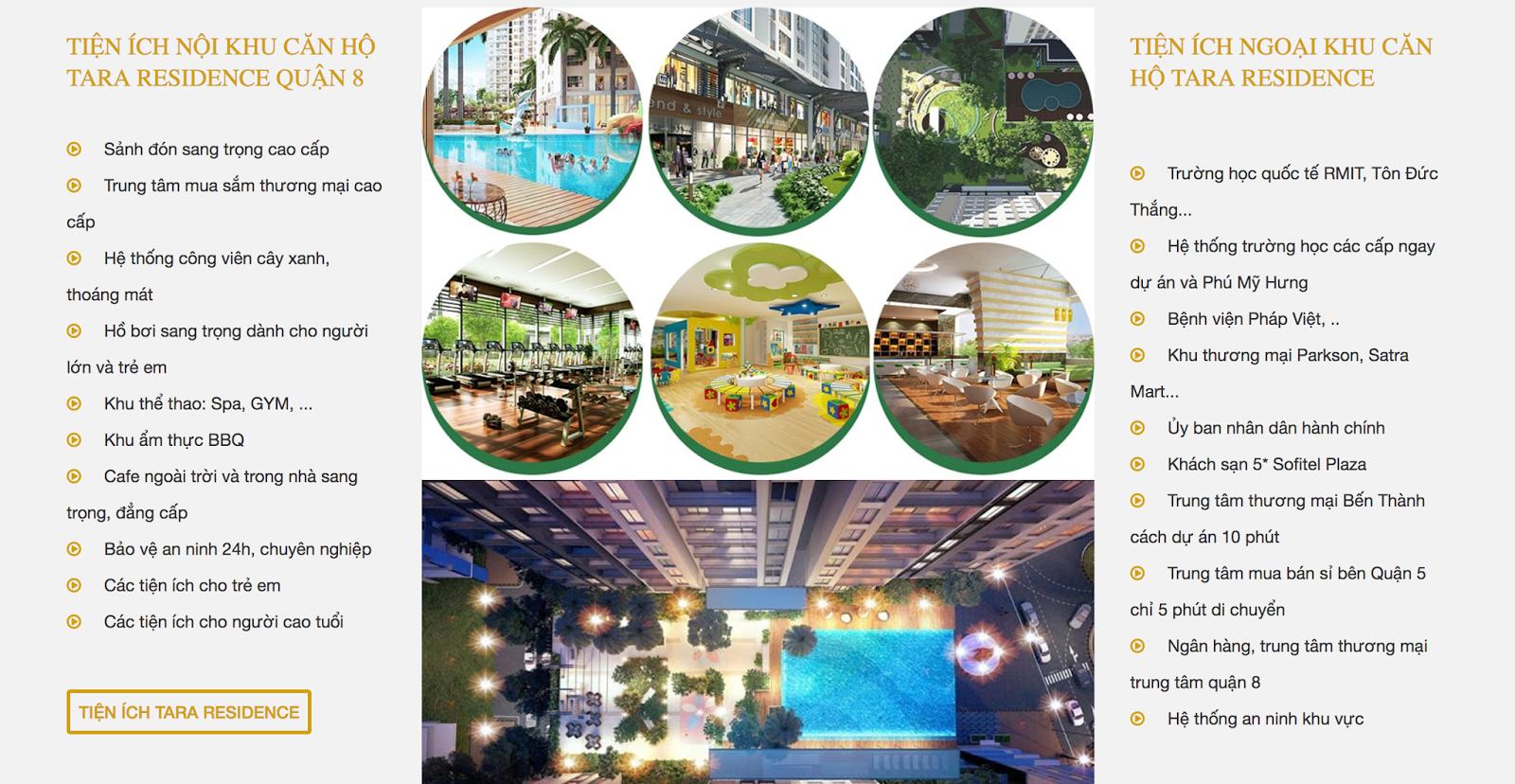tiện ích dự án tara residence