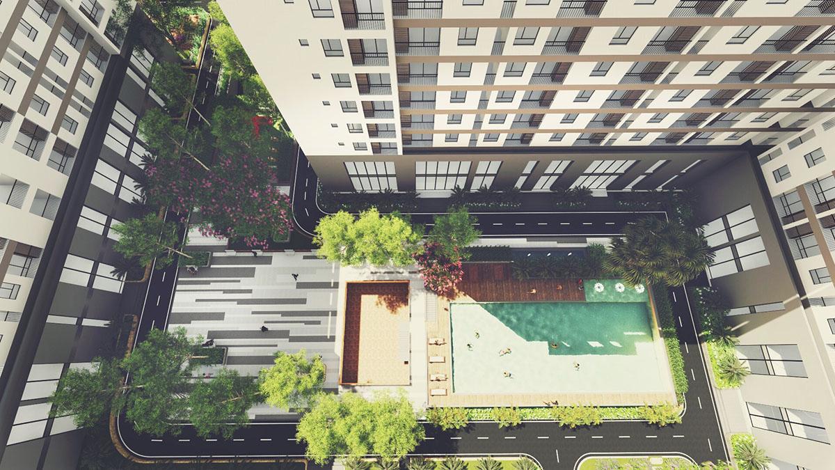 Tara residence hồ bơi từ trên cao