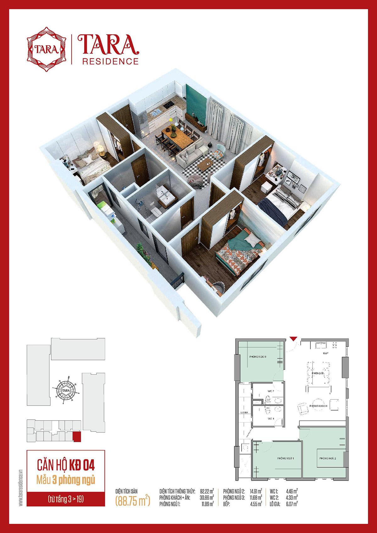 mẫu căn hộ 3 PN, Kinh Đô 04 của Song Ngọc
