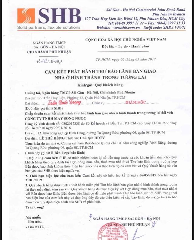 Bảo lãnh ngân hàng từ SHB của căn hộ Tara Residence