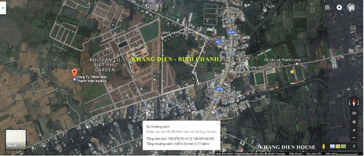 vị trí dự án Khang Điền Bình Chánh trên maps