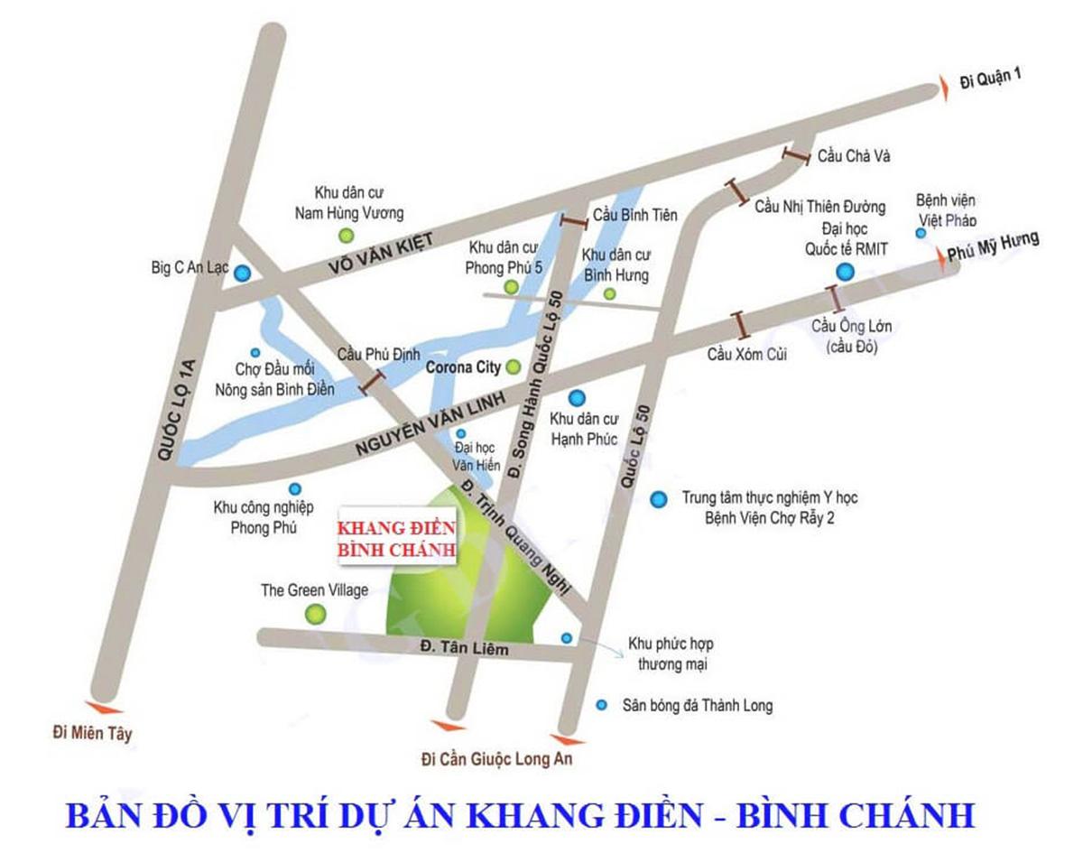 vị trí dự án nhà phố liền kế và biệt thự Khang Điền Bình Chánh