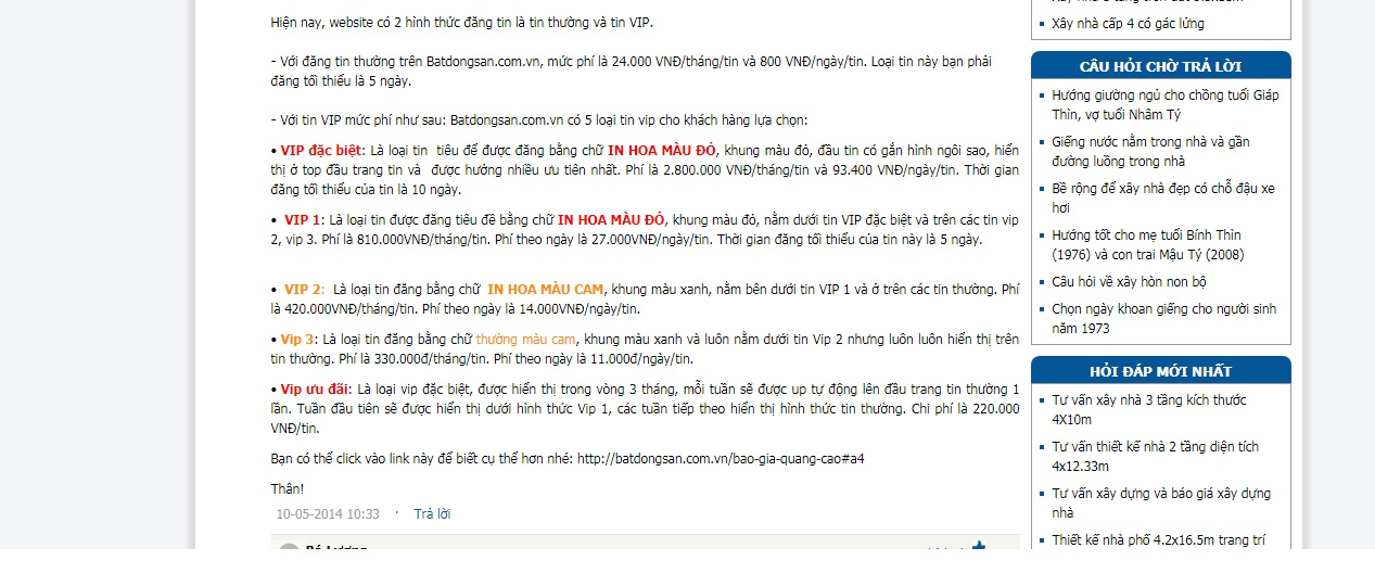 phí đăng tin trên trang batdongsan.com.vn