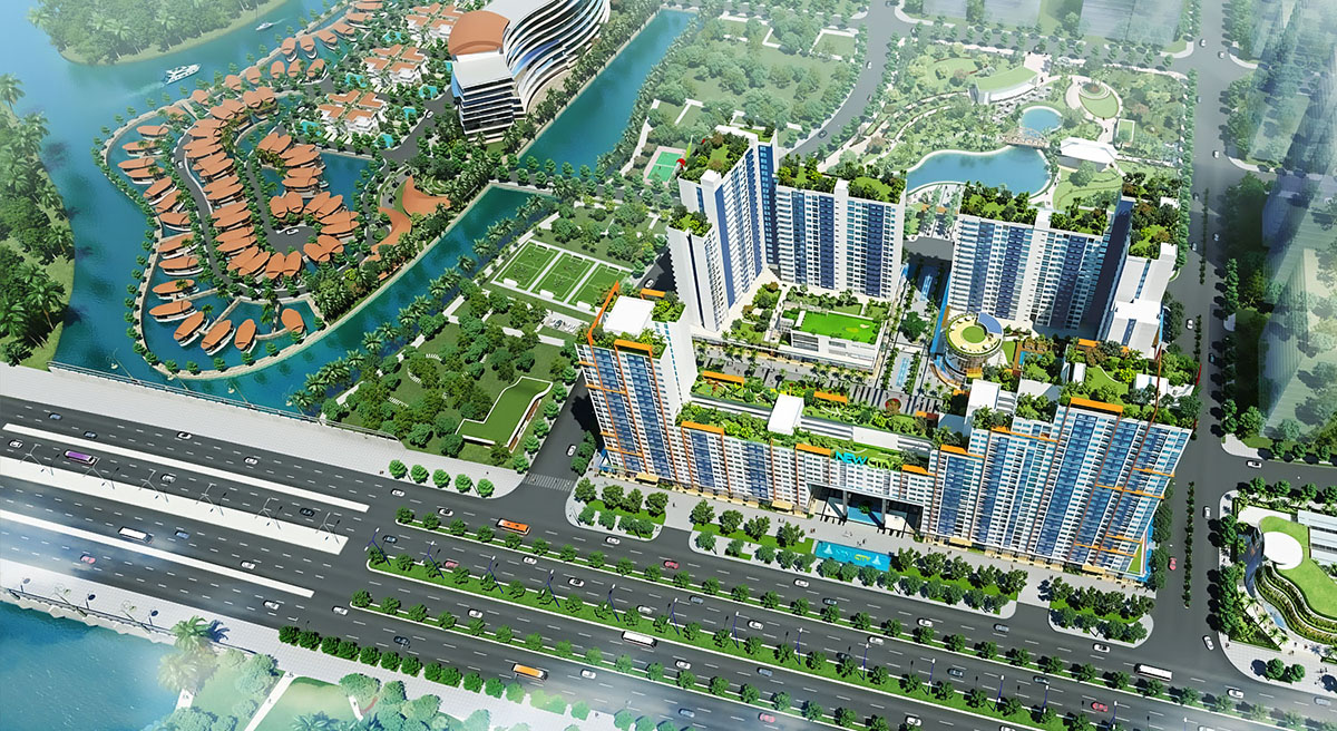 Phối cảnh tổng thể 4 Block cao cấp new city thuận việt