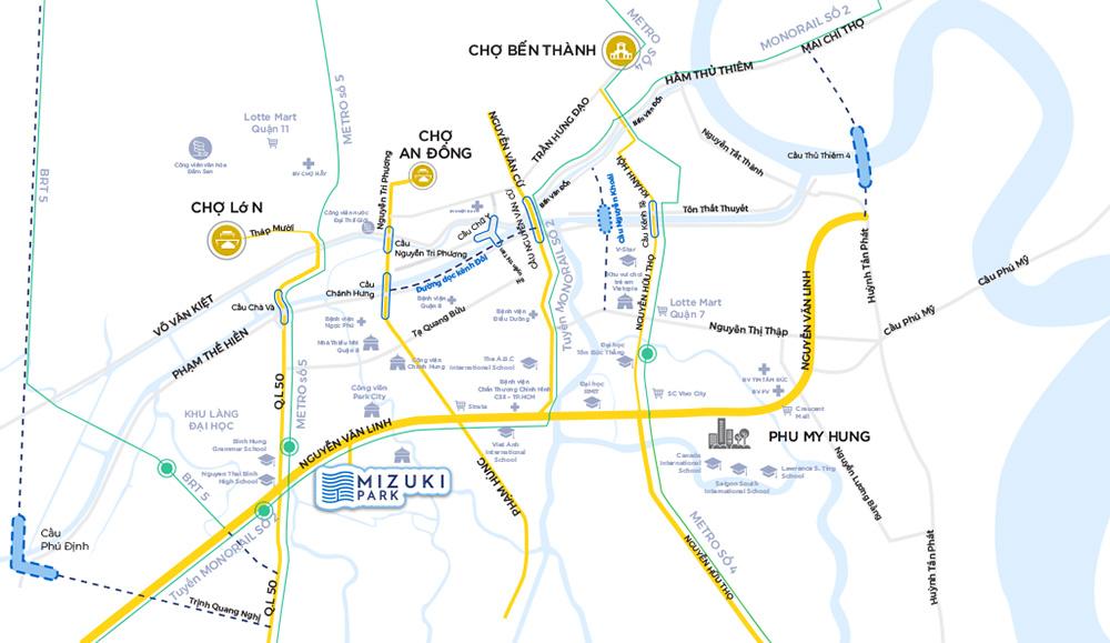 vị trí khu mizuki park nam long