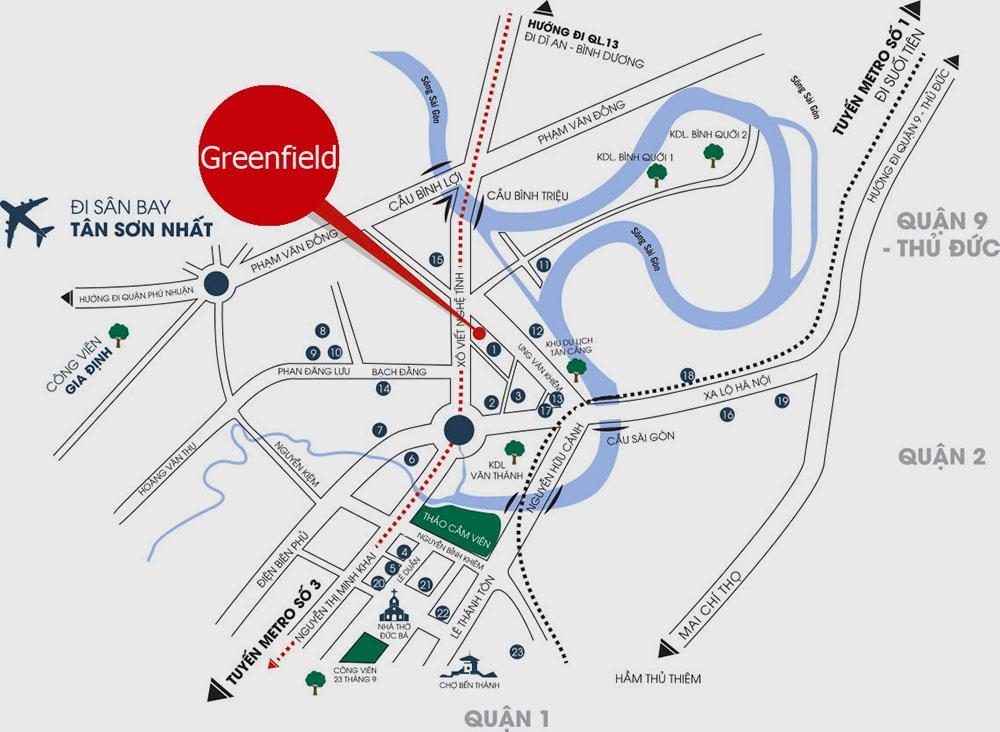 vị trí dự án greefield bình thạnh