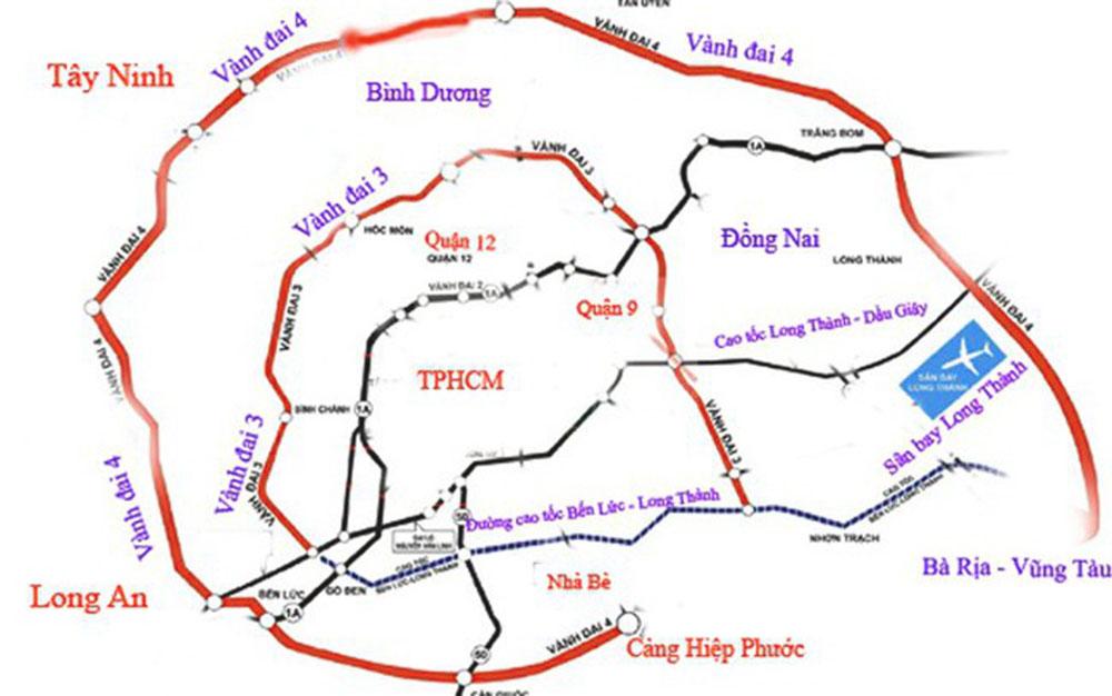 bản đồ đường vành đai 3, 4